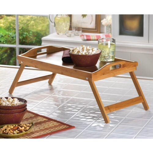 Serving bamboo Tray With Foldable Sides